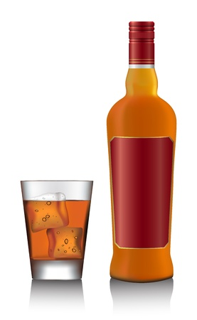 Bottle and glass of scotch whiskey and ice on white vector Vector
