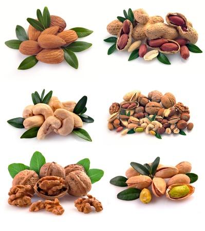 Peanuts, cashews, pistachio, almonds, walnuts, Brazil nuts and hazelnuts on a white background