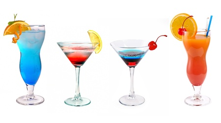 various cocktails on a white
