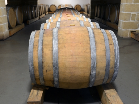 Casks in wine cellar and bottle photo
