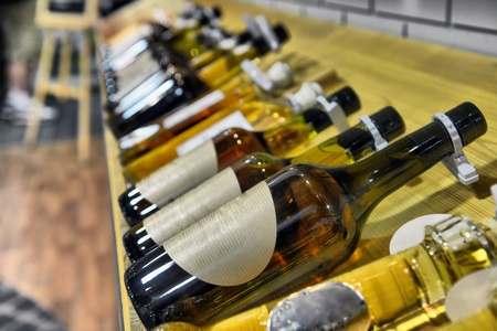Calvados in bottles in wine shop