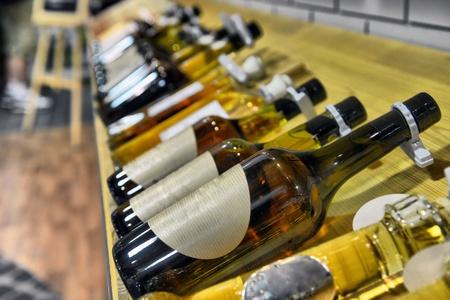 Calvados in bottles in wine shop 免版税图像 - 16018609