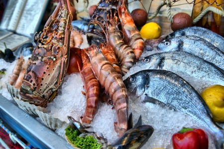 showcase of seafood in the sea market Stock Photo