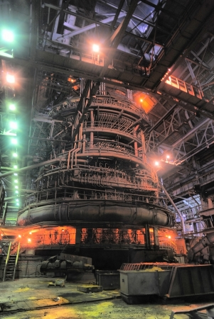 metallurgical: Working blast furnace at the metallurgical plant