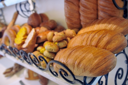 bakery products: Variety of bakery products on the shelf in the store Stock Photo