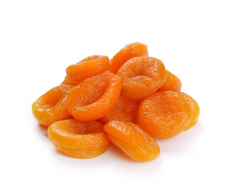apricots: Dried apricots on a white background