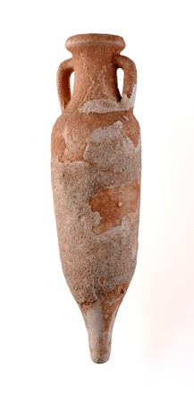 Clay pottery called amphora used in ancient times to transport goods, particularly wine and food. Isolated with clipping path. Stock Photo - 16854428