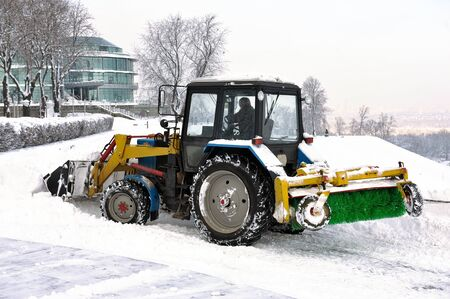 clearing snow snowplows Stock Photo - 16980587