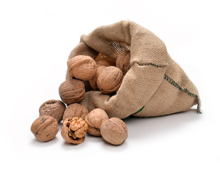 Walnuts and a bag on white Stock Photo - 17116633