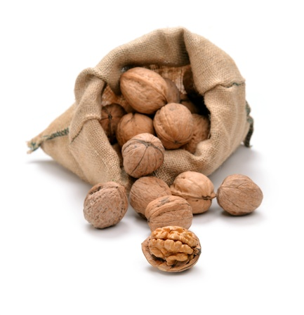 Walnuts and a bag on white Stock Photo - 17794324