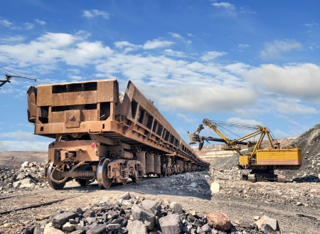 iron ore: Loading of iron ore on the train in career