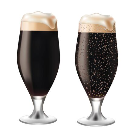 beerglass: Dark beer in glass with drops on white background