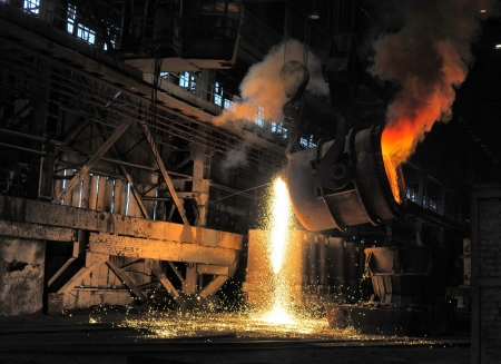 smelting of the metal in the foundry 免版税图像