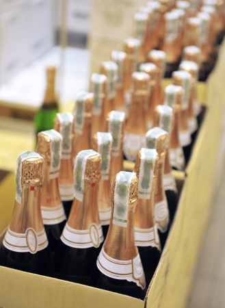 bottle of champagne wines in the store photo