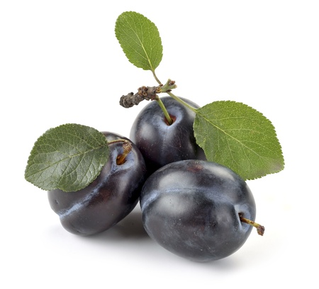 plum and leaves on a white background