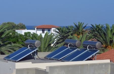 solar panels on the roof of the hotel photo