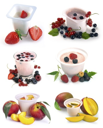 set of images of fruit and yogurt with berries on the white photo