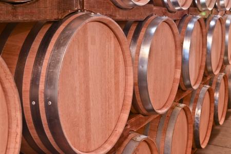 barrels of wine in the wine cellar photo