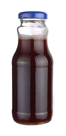 juice bottle: cherry juice in a little glass bottle. Isolated on white background