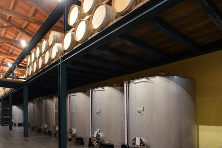 Stainless steel wine vats in a row inside the winery photo