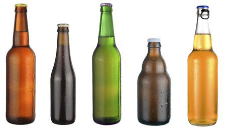 dewed: set of beer bottles on a white background