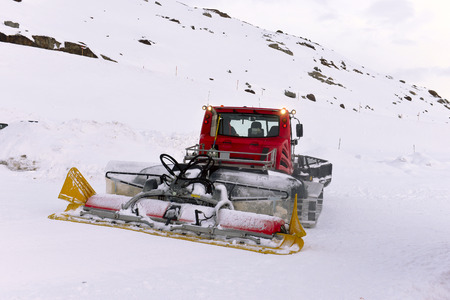 snow grooming machine: machine for snow preparation in wild nature