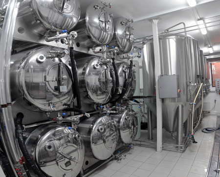 boiling tube: Row of tanks in microbrewery