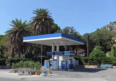 southern european: gas station in the southern European city