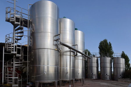 tanks with wine at the winery photo