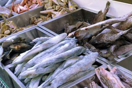 frozen fish: frozen fish in the fish shop