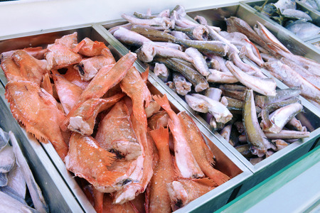 fish shop: frozen fish in the fish shop