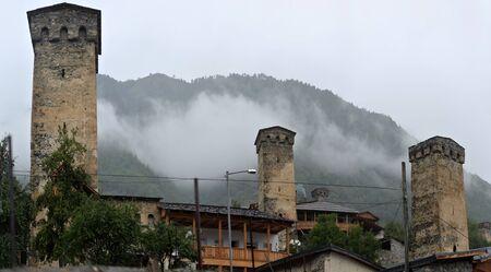 svan: Svan towers in Mestia. Svaneti, Georgia Stock Photo