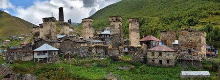caucas: Ushguli high mountain village with towers