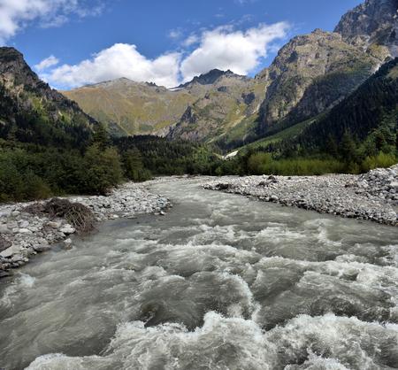 svaneti: mountain landscape with mountain river Svaneti Georgia