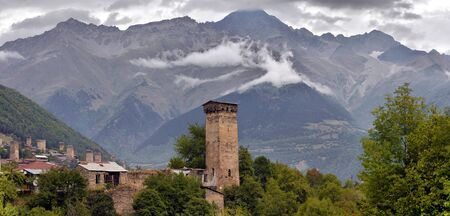 svan: Svan towers in Mestia. Svaneti, Georgia Editorial