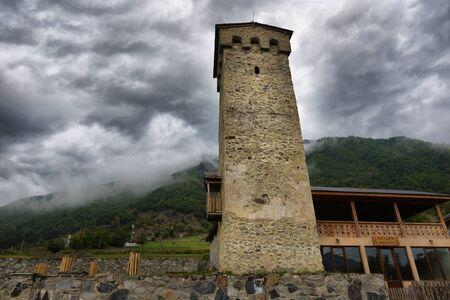 svaneti: Svan towers in Ushguli. Svaneti, Georgia