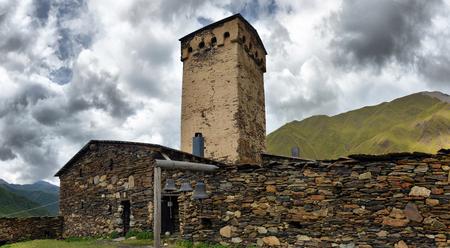 svan: Svan towers in Ushguli. Svaneti, Georgia