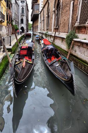 venezia: 2013, may, 02, Italy, Venezia, Gondolas on canal in Venice, 2013, may, 02, Italy, Venezia