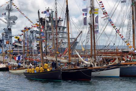 historical events: FRANCE. BREST-JULY-17, 2012: festival of sailing in the port of Brest: FRANCE. BREST-JULY-17, 2012