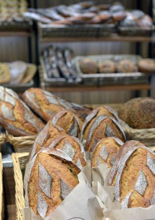 shop window: bread in a shop window Stock Photo