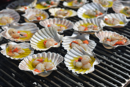 coquille: Charcoal-grilled scallop, Italian Cuisine