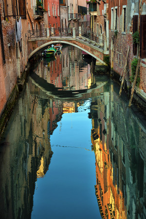 venezia: 2016, APRIL, 18, Italy, Venezia, Gondolas on canal in Venice, 2016, APRIL, 18, Italy, Venezia Editorial