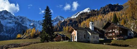 Alpine panorama from the small village Stock Photo