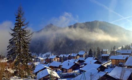 Winter Alpine landscape in the countryside