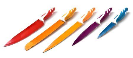 Set of ceramic knife on a white background Stock Photo
