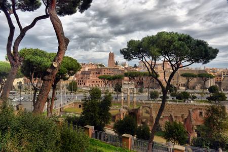 ROME. ITALY. FEBRUARY 23 2016 Ancient Roman ruins in Rome, ROME. ITALY. FEBRUARY 23 2016 Editorial