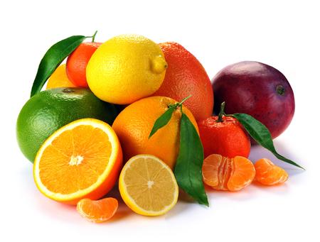 set van citrusvruchten op witte achtergrond Stockfoto