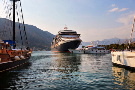 kotor: Kotor, Montenegro, 15 AUGUST 2017: The cruise liner leaves the Bay of Koto, Kotor, Montenegro, 15 AUGUST 2017 Editorial