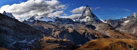 Amazing View of the panorama mountain range near the Matterhorn in the Swiss Alps. Trek near Matterhorn mount. Stock Photo