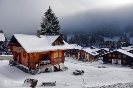 田舎の冬の高山の風景